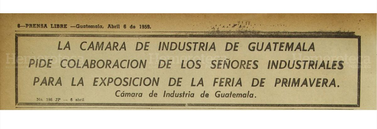 La Cámara de Industria de Guatemala anuncia la Feria de primavera el 21/04/1959. (Foto: Hemeroteca PL)