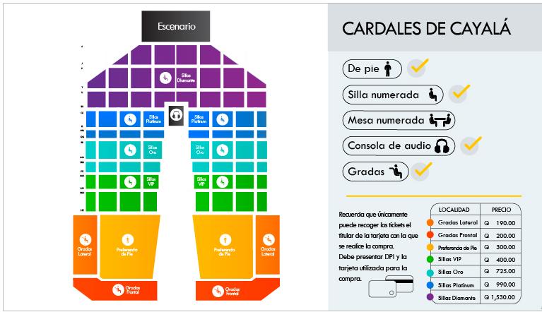 Distribución de espacios para el concierto de Ricardo Arjona. Al centro, adelante, se encuentran agostadas (Foto Prensa Libre: Todoticket).