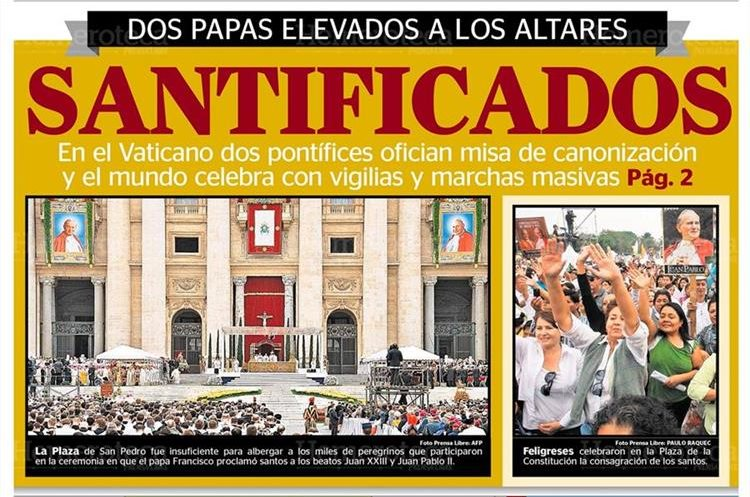La Plaza de San Pedro fue insuficiente para albergar a miles de peregrinos que participaron en la canonización de Juan XXIII y Juan Pablo II; foto del 27/4/2014. (Foto: Hemeroteca PL)