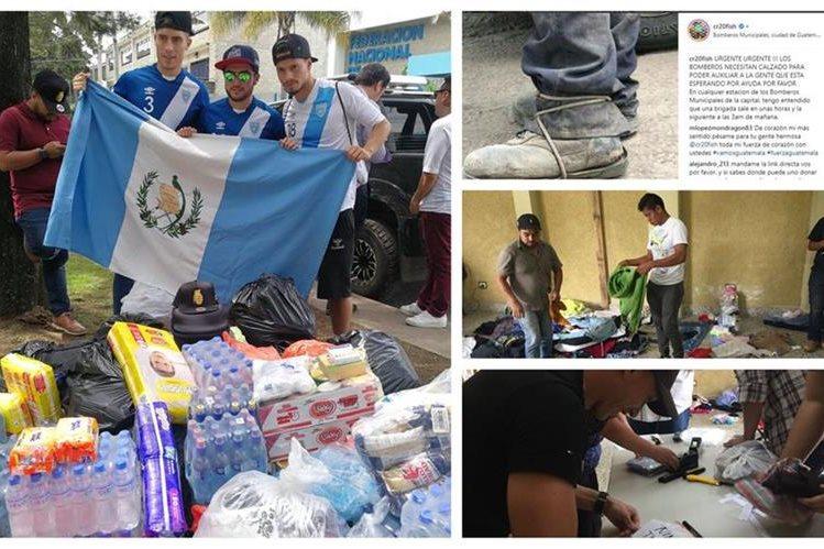 Los futbolistas guatemaltecos muestran su solidaridad con las víctimas de la tragedia del Volcán de Fuego. (Foto Prensa Libre: Francisco Sánchez y Eduardo Sam Chun)