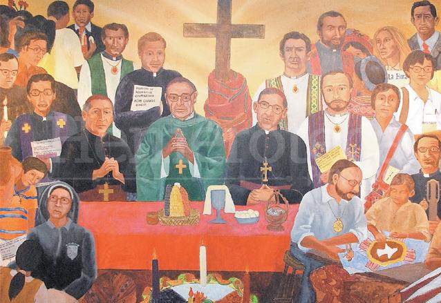 """Mural """"La misa de los mártires"""" de Alessandra Vechi y Máximo Curruchiche que retrata a algunos religiosos y religiosas que murieron durante el conflicto armado interno. (Foto: Hemeroteca PL)"""