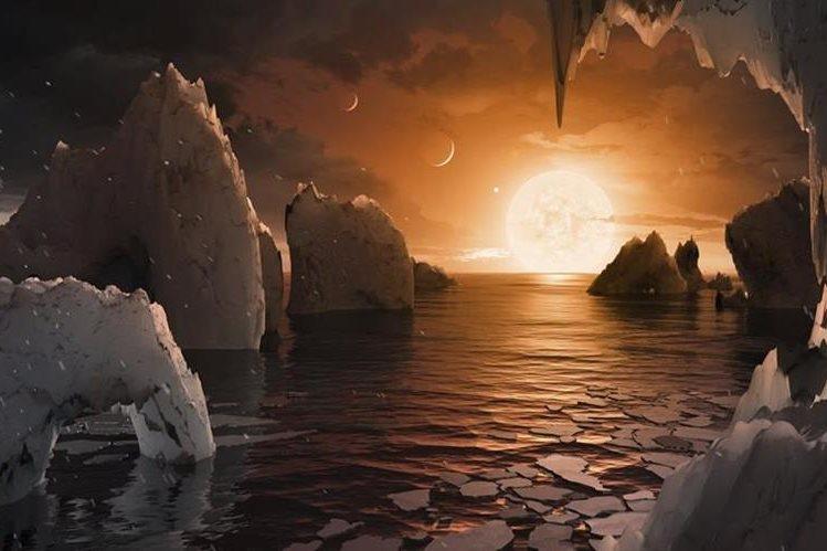 Recreación artística de la NASA de la superficie de uno de los exoplanetas descubiertos. AP