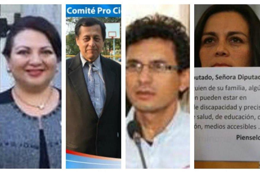 Marielos de Rueda, Noé Hinestroza, Gabriel Escobar y Kareen de Hutton, miembros de la Plataforma Nacional de Organizaciones de y para Personas con Discapacidad.