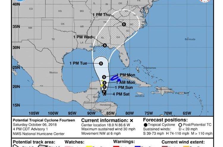 Centro Nacional de Huracanes de EE.UU. reporta la posibilidad de una depresión tropical o tormenta tropical sobre el noroeste del mar Caribe o el sur del Golfo de México desplazándose al norte. (Foto Prensa Libre: CNH)