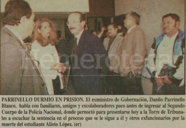 El ministro de Gobernación de la época, Danilo Parrinello fue procesado por la muerte del estudiante Mario Alioto López Sánchez, al final fue absuelto. (Foto: Hemeroteca PL)