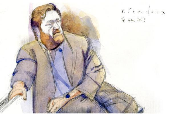 <p>Dibujo de Erwin Sperisen durante audiencia en el Tribunal de Ginebra. (Foto tomada de Tribune de Genéve)</p>
