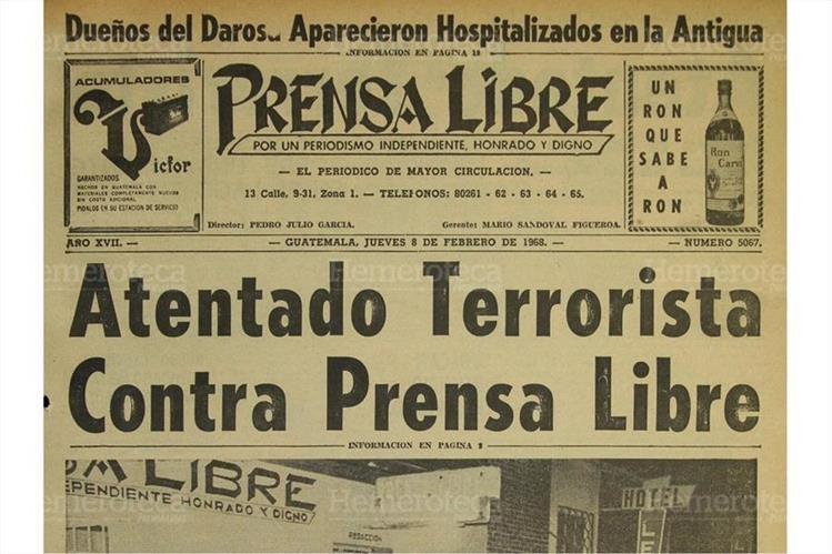 Portada de Prensa Libre del 9/2/1968 informando sobre el atentado terrorista. (Foto: Hemeroteca PL)