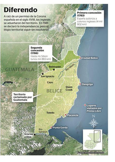 Mapa de la extensión territorial que Guatemala demanda de Belice. (Foto Prensa Libre: Hemeroteca PL)