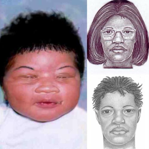 Una foto de hace 18 años de Kamiyah Mobley y un retrado de la posible secuestradora