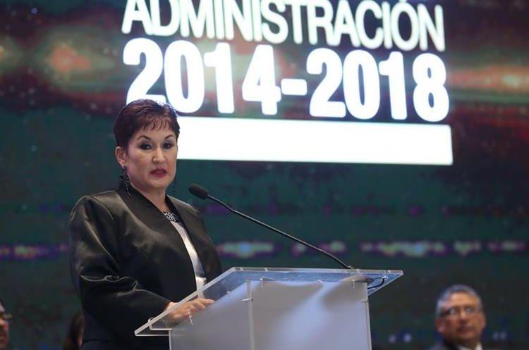 Thelma Aldana durante la presentación de su informe de labores al frente del MP, entre 2014 y 2018. (Foto Prensa Libre: Hemeroteca PL)