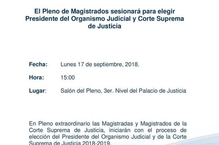 La convocatoria que compartió el Organismo Judicial. (Foto Prensa Libre: OJ)