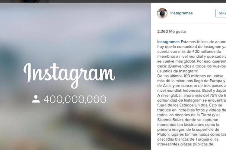 Instagram anunció estar feliz por llegar a los 400 millones de usuarios. (Foto Prensa Libre: Tomada de /instagram.com/instagrames/).