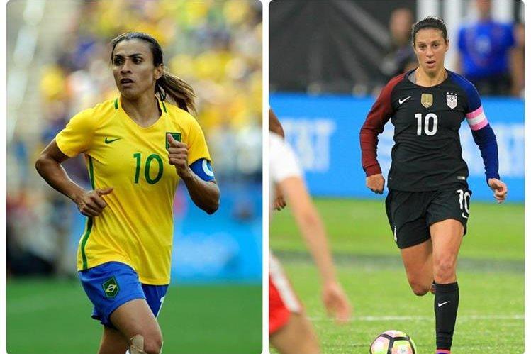 ¿Podrá Marta recuperar su puesto como la mejor jugadora o Carli Lloyd volverá a ganar el premio?. (Foto Prensa Libre: Agencias)