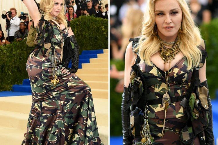 Madonna, lució un diseño de Moschino en tela de camuflaje. (Foto Prensa Libre: Getty Images)