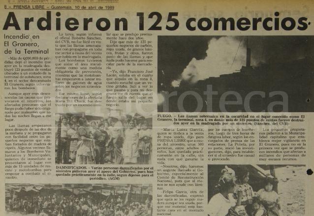 Nota periodística del 10 de abril de 1989 que informaba sobre el incendio que arrasó con 125 locales del mercado la Terminal. (Foto: Hemeroteca PL)