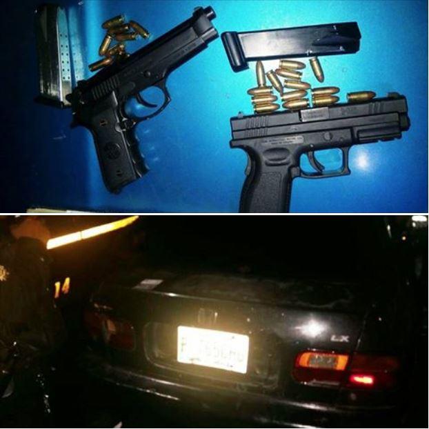 Armas y vehículo decomisados a supuestos pandilleros en la Aguilar Batres. (Fotos Prensa Libre: PNC)