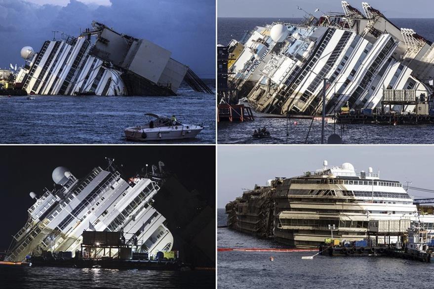 Secuencia de imágenes que muestra el proceso de enderezado del crucero Costa Concordia, el 17 de septiembre de 2013. (Foto: EFE)
