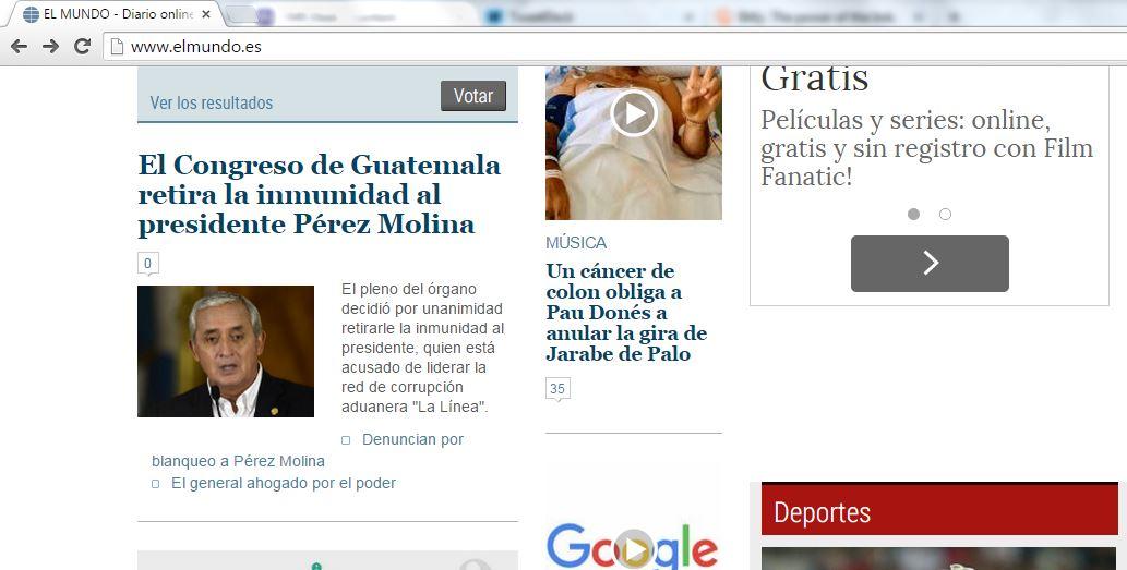 """""""El Mundo"""" de España también colocó la noticia en una parte destacada de su sitio web."""