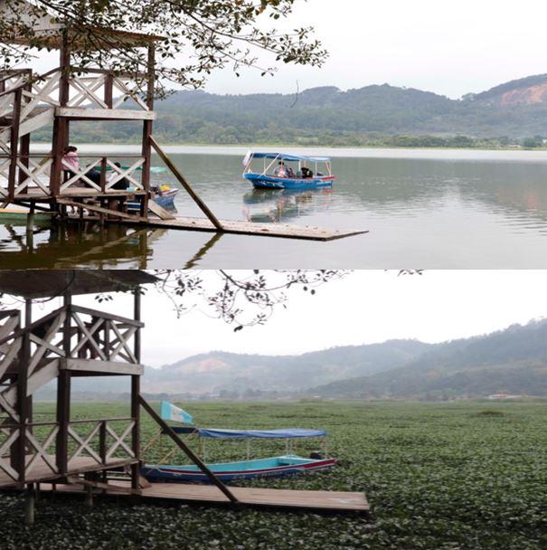 Antes y después de la laguna Chichoj, la cual hasta hace tres años era considerada como el atractivo turístico del municipio. (Foto Prensa Libre: Eduardo Sam)