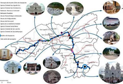 Mapa que detalla recorridos de la la Ruta del Peregrino en Guatemala. (Foto Prensa Libre: Mapa Inguat)
