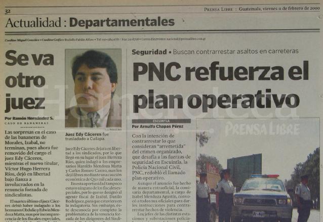 Nota del 11 de febrero de 2000 sobre el plan operativo de la PNC. (Foto: Hemeroteca PL)