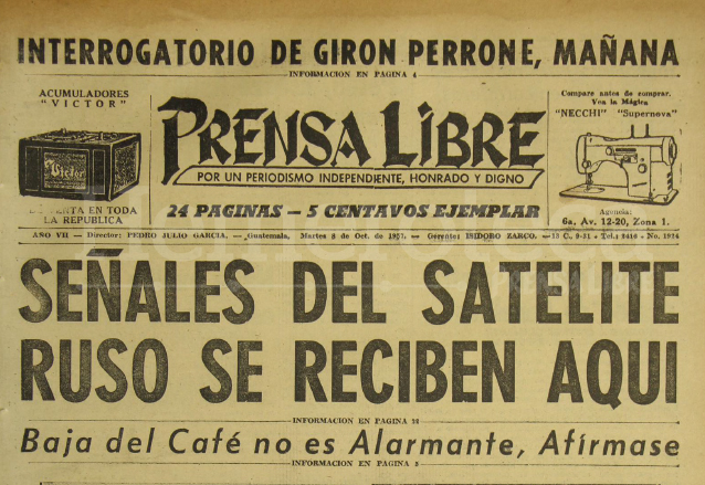 Detalle de la portada de Prensa Libre del 8 de octubre de 1957 informando sobre las señales del Sputnik recibidas en Guatemala. (Foto: Hemeroteca PL)