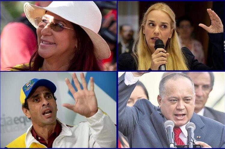 Combo fotográfico que muestra a los principales rostros de las parlamentarias en Venezuela. (Fotos Prensa Libre: AP/EFE/AFP).