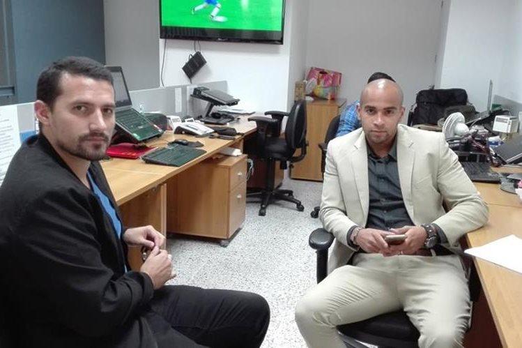 Leonel Aroche, Aléxander Robinson, dos de los cuatro afectados por el caso de dopaje en el Campeón Antigua GFC. (Foto Prensa Libre: Carlos Vicente)