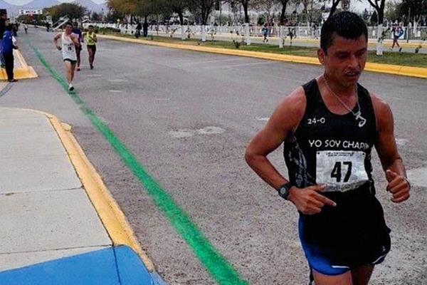 Érick Barrondo realiza su máximo esfuerzo durante la competencia en México. (Foto Prensa Libre: FMAA).