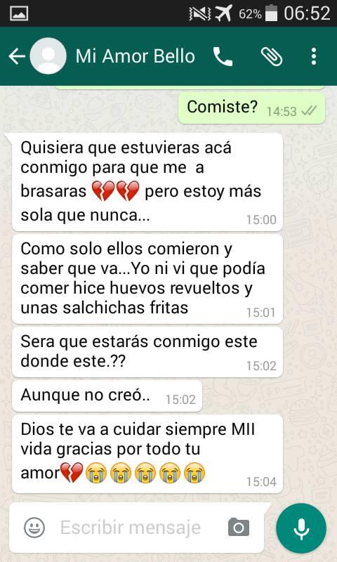 Parte de la conversación que Fajardo tuvo con su novio antes de quitarse la vida. (Foto Prensa Libre: Cortesía)