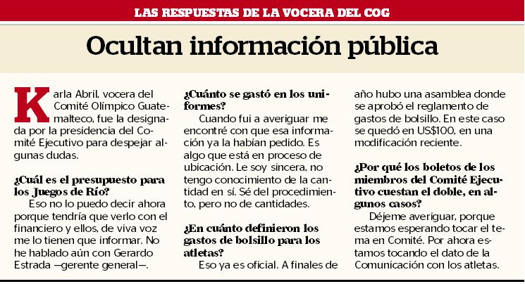 Estas fueron las respuestas de Karla Abril, vocera del Comité Olímpico Guatemalteco.