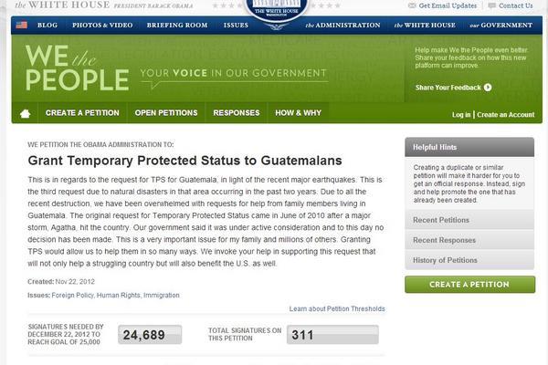 <p>Se necesitan 25 mil firmas hasta el 22 de diciembre para que la petición sea conocida por la Casa Blanca</p>