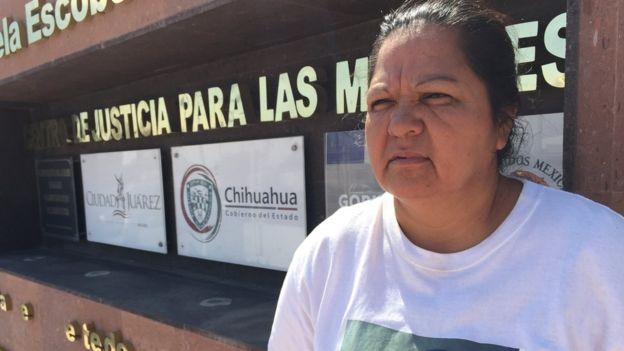 Norma Ortega es la madre de Idalí Juache Laguna, una de las víctimas del Valle de Juárez, un caso emblemático que marcó a la ciudad. BBC MUNDO