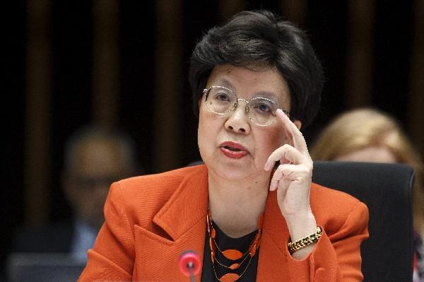 Margaret Chan, directora de la OMS, participa en la reunión del comité ejecutivo en Ginebra.
