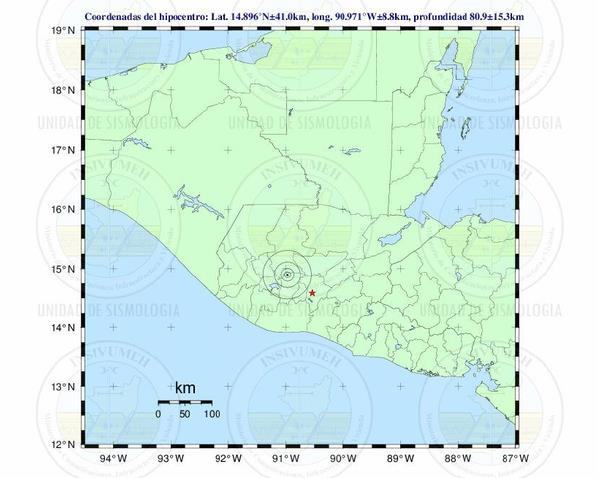 El sismo se registró a 58 kilómetros al noreste de Chimaltenango. (Foto Prensa Libre: Insivumeh)