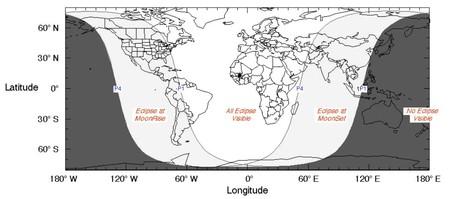 Mapa que muestra los lugares donde ser verá el eclipse (de blanco) y donde no se verá (de negro). AFP