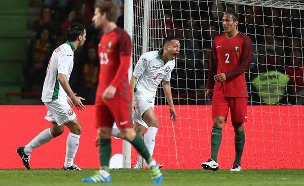 Marcelinho celebra el gol que representó el triunfo de los bulgaros. (]Foto Prensa Libre: AP)
