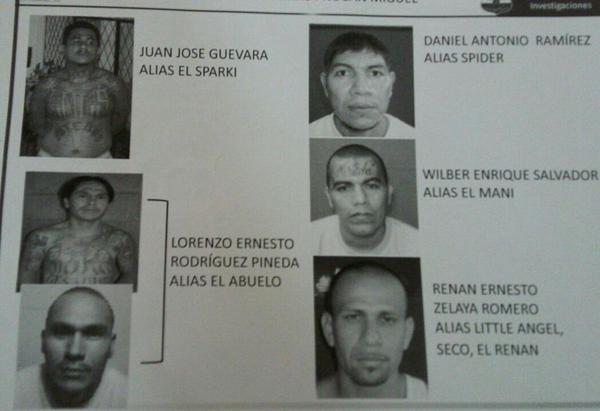 Fotografías difundidas de los seis pandilleros fugados. (Foto: Prensa Libre/Fiscalía General de El Salvador).