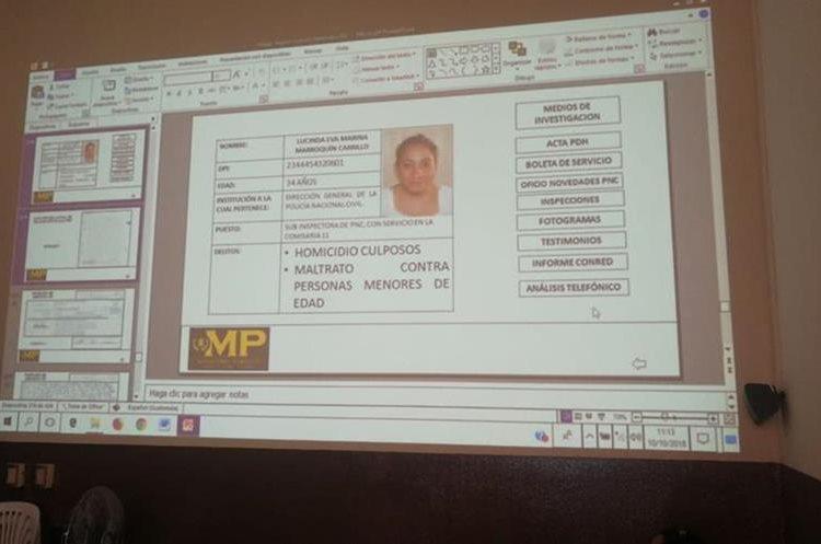 La subinspectora policial Lucinda Eva Marina Marroquín Carrillo está señalada de no haber abierto el aula donde estaban encerradas las 56 adolescentes. (Foto Prensa Libre: Kenneth Monzón)