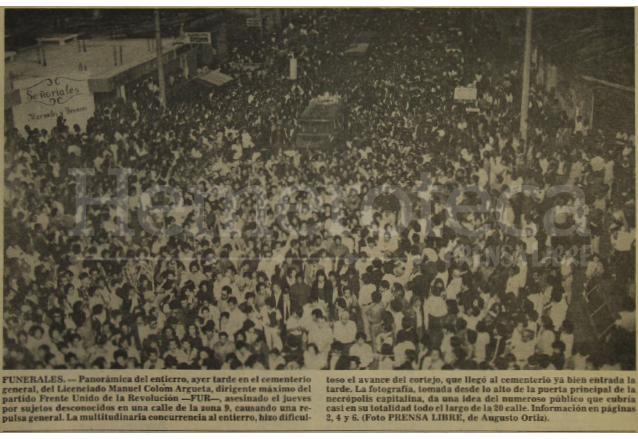 Vista del sepelio de Manuel Colom Argueta el 23 de marzo de 1979. (Foto: Hemeroteca PL)