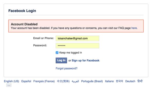 Facebook canceló la cuenta de una joven por tener nombre de una agrupación terrorista. (Foto Prensa Libre: Facebook)