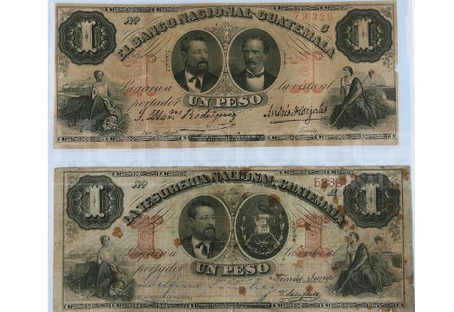 Billetes que circularon durante la época de Justo Rufino Barrios. (Foto: Hemeroteca PL)