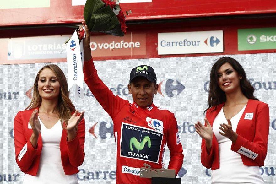 Nairo Quintana se mantiene como líder de la Vuelta. (Foto Prensa Libre: EFE)