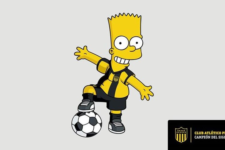 Bart Simpson viste la camisola del Peñarol, luego de un acuerdo con la cadena. (Foto Prensa Libre: EFE)