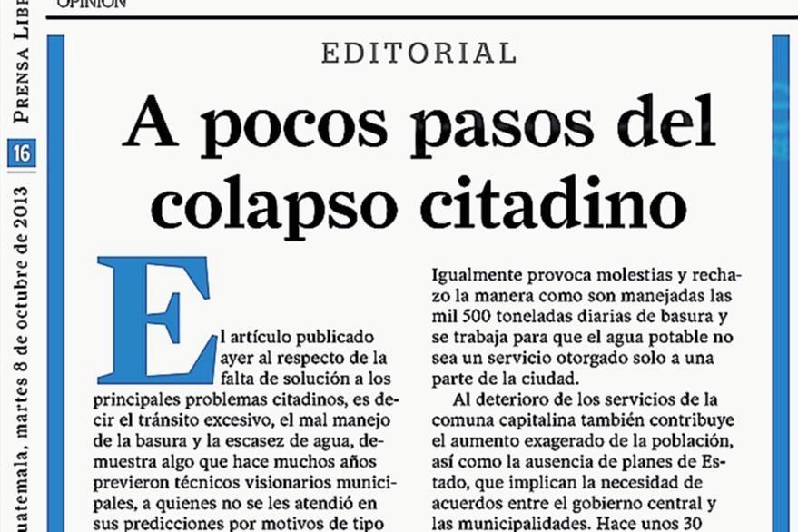 Editorial de PL del 8/10/2013, referente a Colom Argueta. Foto: Hemeroteca PL