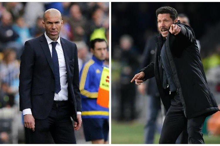 Zidane y Simeone se verán las caras por primera vez en el derby Real Madrid contra el Atlético. (Foto Prensa Libre).