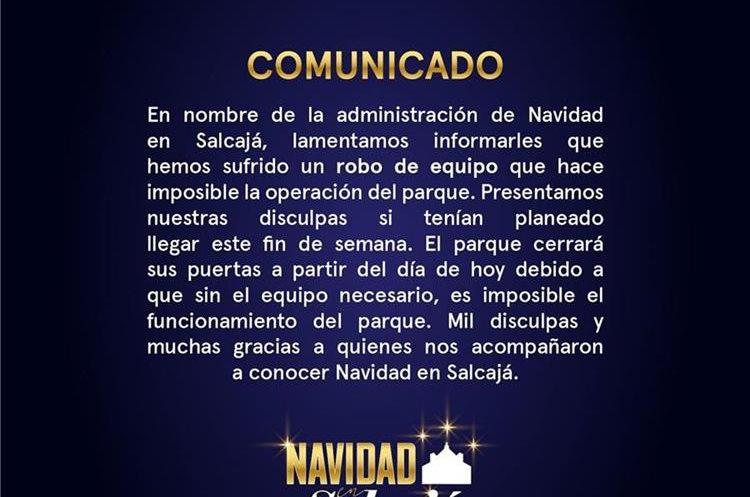 Este fue el comunicado que difundieron en las redes sociales. (Foto Prensa Libre: Cortesía)