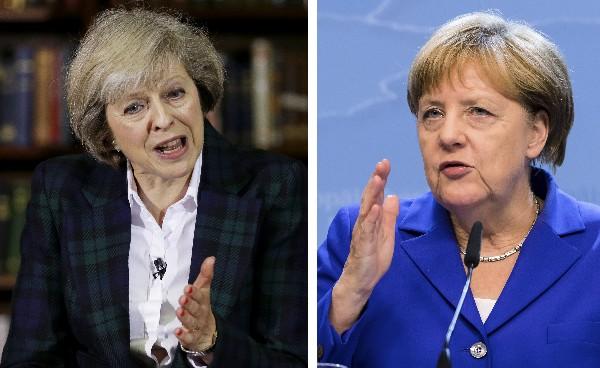 Theresa May, primer ministra británica y la canciller alemana, Ángela Merkel.(AFP).